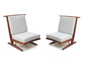 Pair of Conoid cushion chairs