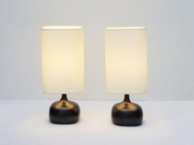 Pair of black ceramic table lamps