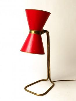 Lampe en laiton à abat-jour diabolo rouge