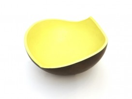 black and yellow ceramic bowl