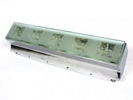 Applique en métal chromé et verre