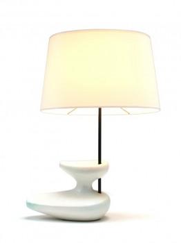 Lampe Navette blanc craquelé