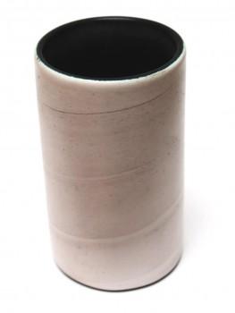 Cylindre en céramique blanc enrubanné