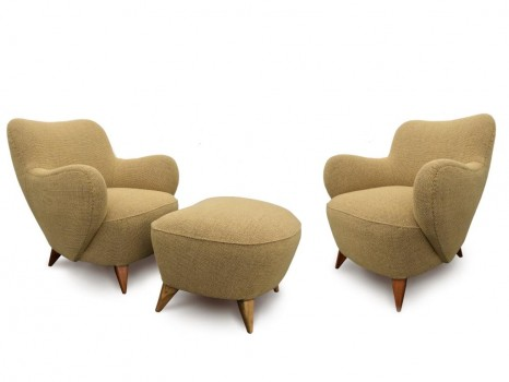 A pair of Barrel chairs mod.100A and ottoman
