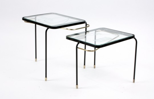 A pair of coffee tables