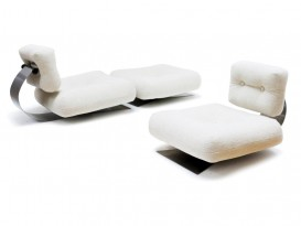 Pair of ON1 Brazilia low chairs and ottoman