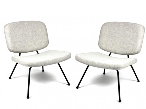 Pair of CM190 grey low-chairs