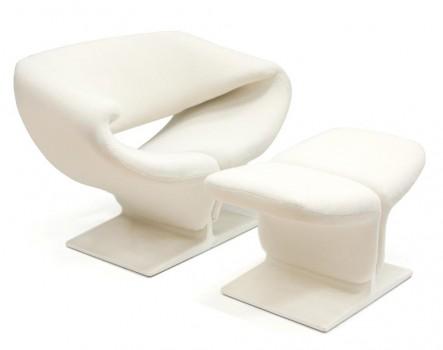Fauteuil Ribbon Chair 582 et Ottoman
