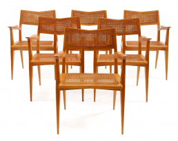 Six cane chairs