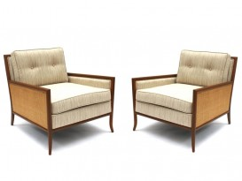 Pair of caned lounge chairs