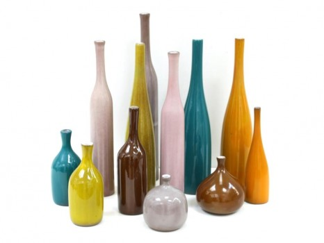 12 ceramic vases and bottles
