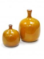 Two orange ceramic vases