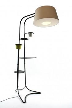 Spectaculaire lampadaire et ses deux céramiques