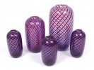 5 blue and red glass vases